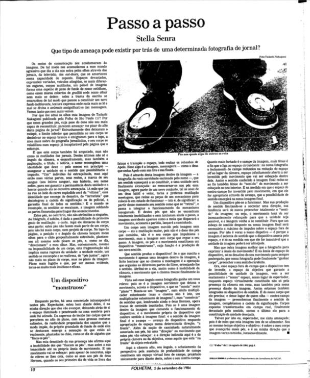 Folhetim, Folha de São Paulo, 2-9-1984, p. 10.